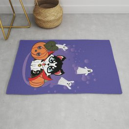 Kawaii count Huskula with pumpkins and ghosts Rug