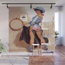 Vintage Western Luck Chaps Elvgren Cowgirl  Wall Mural