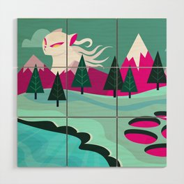 Monster Cat in the Mountains Wood Wall Art