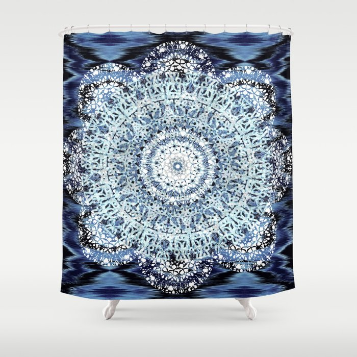 Blue Ikat Mandala Shower Curtain