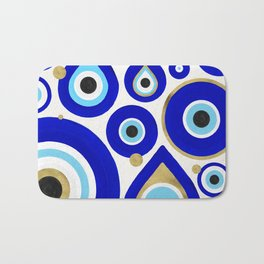 Evil Eye Charms on White Bath Mat