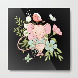 Small Flowers Mouse With Bird I Watercolor Motif Metal Print