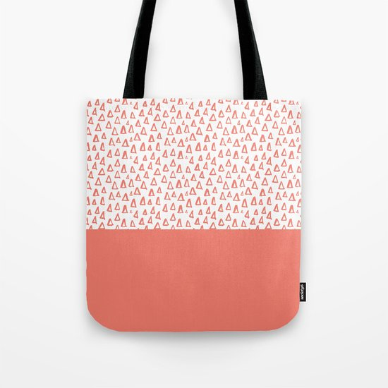 Triangles Coral Red Tote Bag