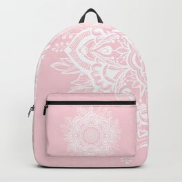 Mandala Bohemian Summer Blush Millennial Pink Floral illustration Backpack