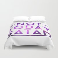 satan Duvet Covers featuring NOT TODAY SATAN by GLAMAZON