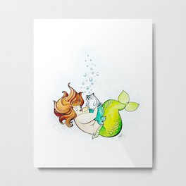 Mermaid & Merkitty Metal Print