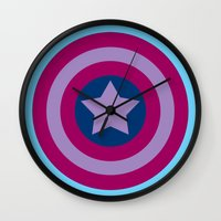 bisexual Wall Clocks featuring American Pride (bisexual edition) by Nikki Homicide