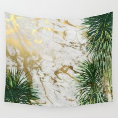 gold marble texture with palm trees Wall Tapestry