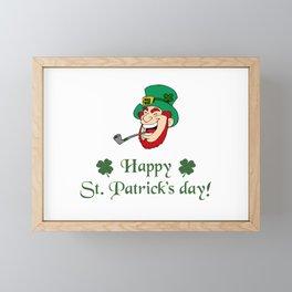 Happy St. Patricks Day Leprechaun Framed Mini Art Print