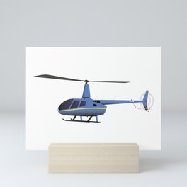 Light Blue and Yellow Helicopter Mini Art Print