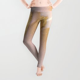 Gold Tipped Pink Feathers Leggings