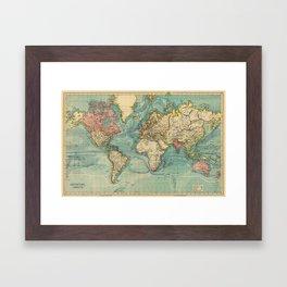 Adventure Awaits (World Map) Framed Art Print