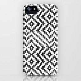 Weave Pattern Bali Black White Monochrome iPhone Case