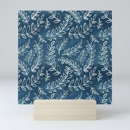 Indigo leaves Mini Art Print