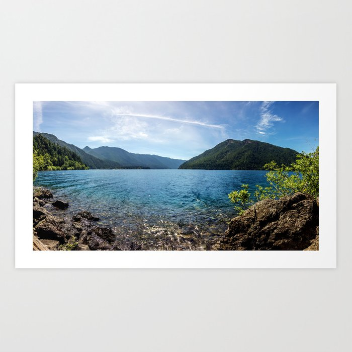 Lake Crescent Olympic Mountain Pano Art Print