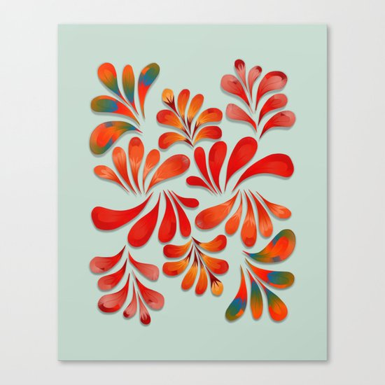 Floral Dance in Red Canvas Print