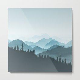 Teal Mountains Metal Print