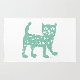 Mint cat drawing, cat drawing Rug