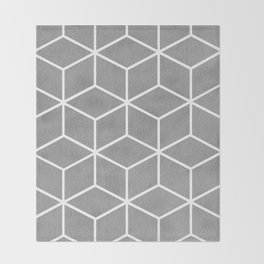 Light Grey and White - Geometric Textured Cube Design Throw Blanket