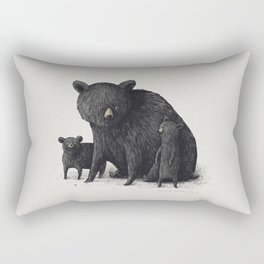 Black Bear Family Rectangular Pillow