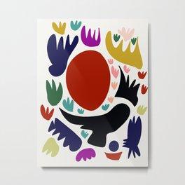 Birds in the sun minimal art abstract pattern decorative Metal Print