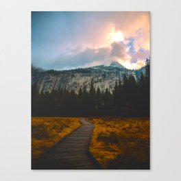 Path leading to Mountain Paradise Mountain Snow Capped Pine trees Tall Grass Sunrise Landscape Canvas Print