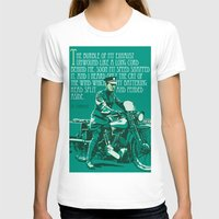 arab T-shirts featuring T.E. Lawrence on his Brough Superior by Saddle Bums