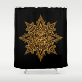 Ancient Yellow and Black Aztec Sun Mask Shower Curtain
