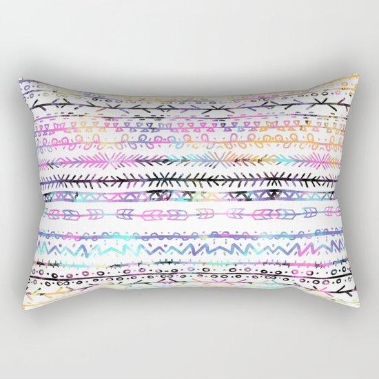 Modern Aztec Pillows : Modern bright boho summer hand drawn geometric watercolor aztec pattern Rectangular Pillow by ...