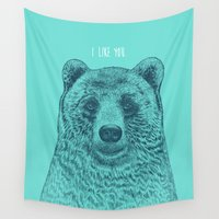 i like you Wall Tapestries featuring I Like You (Bear) by Rachel Caldwell