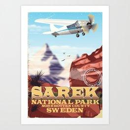 Sarek National park Sweden vintage poster Art Print