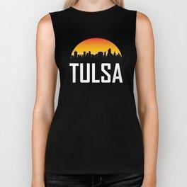 Sunset Skyline of Tulsa OK Biker Tank
