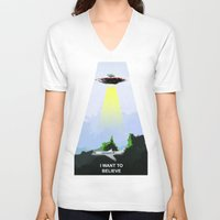 i want to believe V-neck T-shirts featuring I WANT TO BELIEVE! by Erased Account