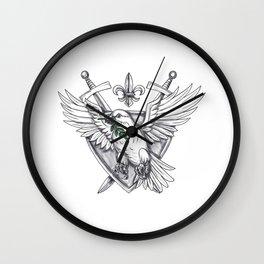 Dove Olive Leaf Sword Crest Tattoo Wall Clock