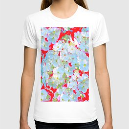 BLUE TINGED WHITE PHLOX FLOWERS RED T-shirt