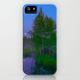 White moon night on the forest river iPhone Case