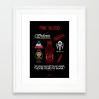 true blood Framed Art Prints featuring True Blood Logos by CLM Design