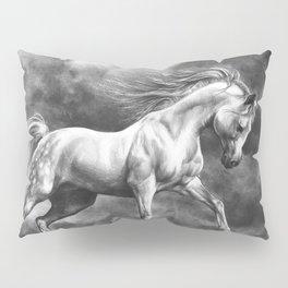Running white horse - equine art Pillow Sham