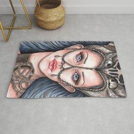Viking Warrior Princess Fantasy Art Skull Crown Laurie Leigh Rug