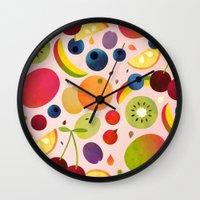 fruit Wall Clocks featuring Fruit by Malin Koort