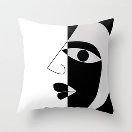 Black and white face Throw Pillow