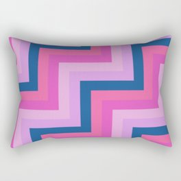Blue, Shades of Pink and Purple Chevron Stripes Rectangular Pillow