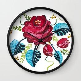Röd Blomma Wall Clock