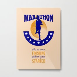 Marathon Runner Finishing Retro Poster Metal Print