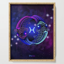Zodiac neon signs — Pisces Serving Tray