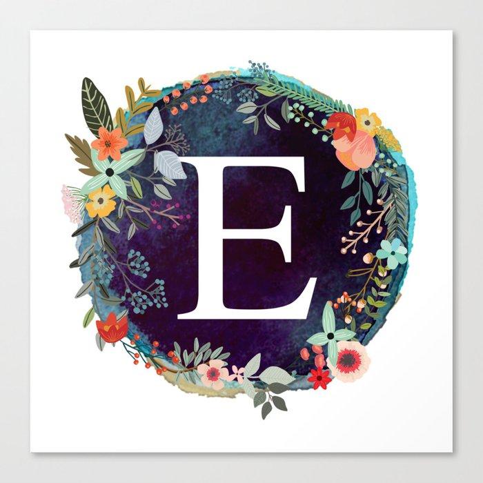 personalized monogram initial letter e floral wreath artwork canvas