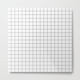 Grid (Gray & White Pattern) Metal Print