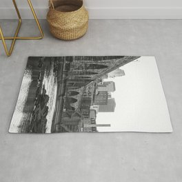 Minneapolis Skyline Black and White Rug