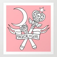 magical girl Art Prints featuring Magical Girl by Bunnymachine