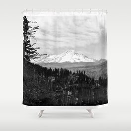 Mount Shasta, and neighboring mountain Shastina, Siskiyou County, ca.1900-1940 Shower Curtain